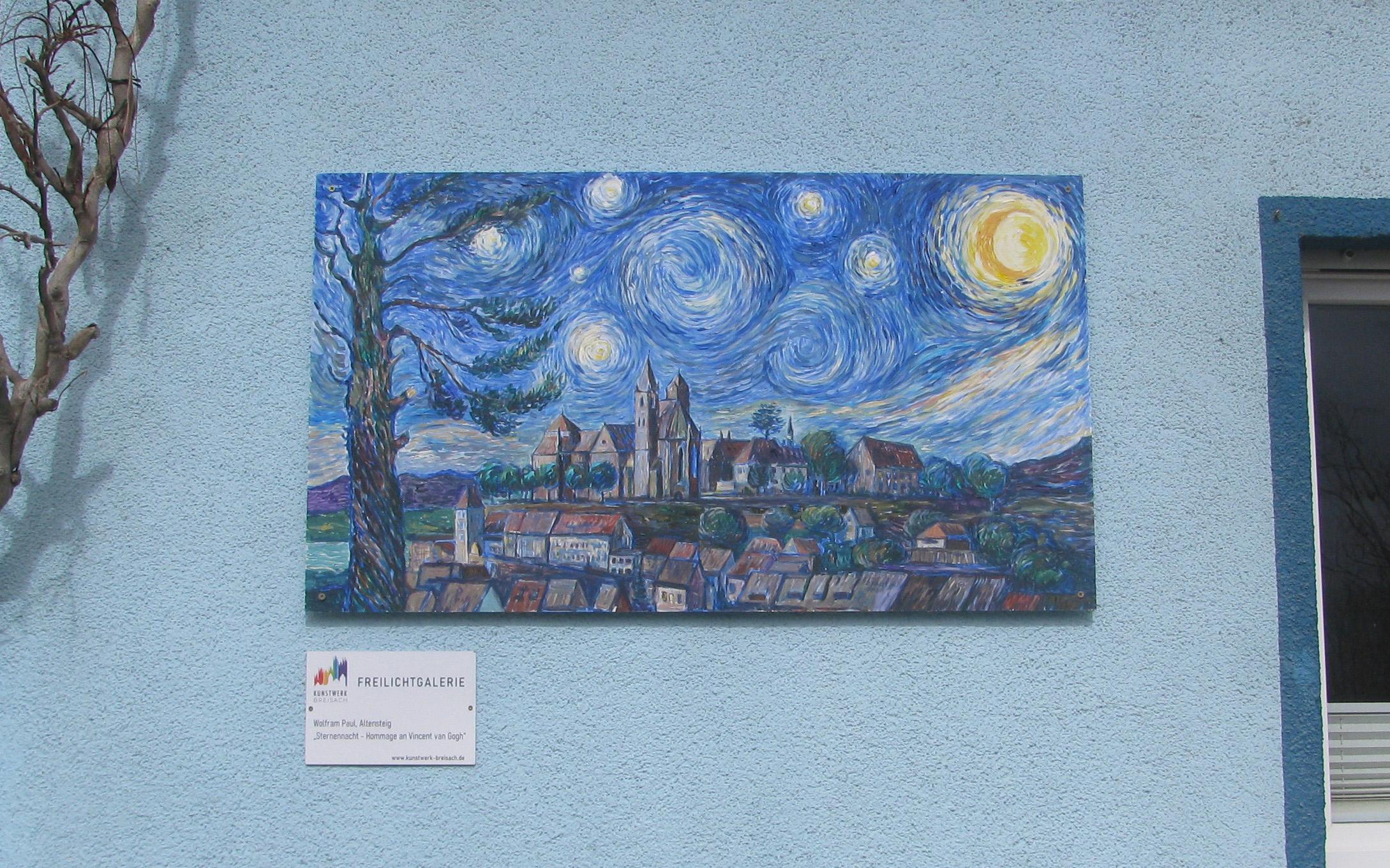 """Wolfram Paul: Breisach bei Nacht Hommage an Van Gogh   Fischerhalde 12   <a href=""""https://www.wolfram-paul.de"""" target=""""_blank"""">www.wolfram-paul.de</a>"""